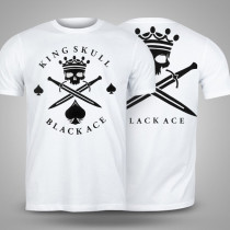 Camiseta Black Ace King Skull - Branco