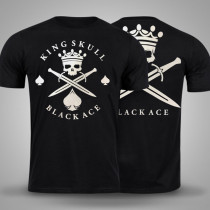 Camiseta Black Ace King Skull - Preto