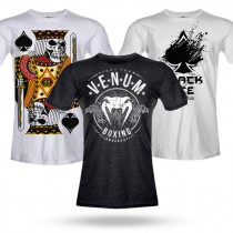 Kit 3 Camisas: Camiseta Venum Boxing + Camiseta Black Ace + Camiseta Black Ace The King of Gamble