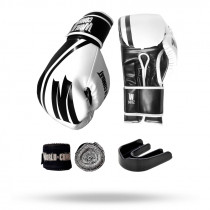 Kit: Luva World Combat Pro Serie Branca + Bucal + Bandagem