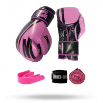 Kit: Luva World Combat Pro Serie Rosa + Bucal + Bandagem