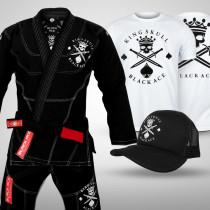 Kit: Kimono Black Ace King Skull + Camiseta Black Ace + Boné Black Ace