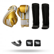 Kit: Luva World Combat Pro Serie Branca + Bucal + Bandagem + Caneleira World Combat