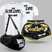 Kit: Short Muay Thai World Combat Thailand Style + Bolsa World Combat Fight Camp + Camiseta Muay Thai