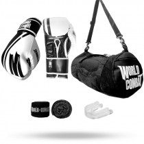 Kit: Luva World Combat Pro Serie Branca + Bucal + Bandagem + Bolsa World Combat