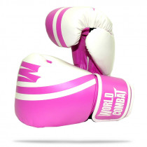 Luva World Combat Sport Training - Rosa e Branco