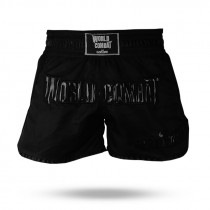 Short Muay Thai World Combat Thailand Style Retro - Black in Black