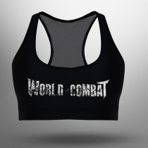 Top Feminino World Combat Logo - Preto