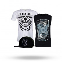 Kit: Boné HeadRush Lucky + Camiseta Black Ace Fight is My Game + Regata Black Ace King Of Gamble