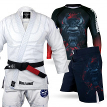 Kit: Kimono World Combat New Let's Roll + Rash Guard Samurai Monkey + Bermuda Samurai Monkey