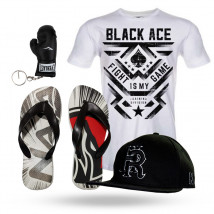 Kit: Camiseta Black Ace + Boné HeadRush + Chinelo Naja + Chaveiro Everlast