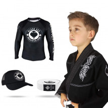 Kit: Kimono Infantil Black Ace + Rash Black Ace Kids + Faixa Black Ace + Boné Kids