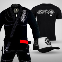 Kit: Kimono Black Ace Player + Camiseta Black Ace + Boné Black Ace Gambler