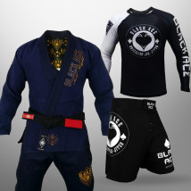 Kit: Kimono Black Ace Juts Fight + Bermuda Black Ace + Rash Black Ace