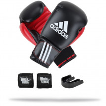 Kit Fight: Luva Adidas Response Preto + Bandagem + Bucal