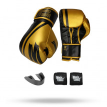 Kit: Luva World Combat Pro Serie Preto + Bucal + Bandagem