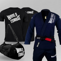 Kit: Kimono World Combat BJJ + Bolsa World Combat Fight Camp + Camiseta World Combat
