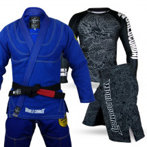 Kit: Kimono World Combat New Let's Roll + Rash Guard The Dragon + Bermuda The Dragon