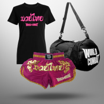 Kit: Short Muay Thai World Combat Pink + Bolsa World Combat Fight Camp + Camiseta Feminina Muay Thai