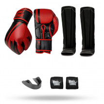 Kit: Luva World Combat Pro Serie Vermelha + Bucal + Bandagem + Caneleira World Combat