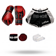 Kit Luva World Combat Pro Serie Vermelha + Bucal + Bandagem + Short World Combat