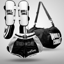 Kit: Caneleira Muay Thai Profissional + Short Muay Thai World Combat Thailand Style Retro + Bolsa World Combat Fight Camp