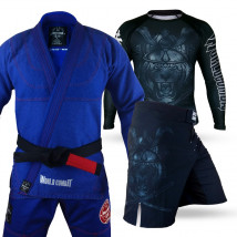 Kit: Kimono World Combat New Let's Roll + Rash Guard Tiger Samurai + Bermuda Tiger Samurai