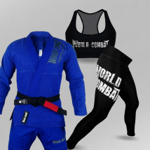 Kit: Kimono World Combat BJJ + Top Feminino World Combat + Calça Legging Feminina