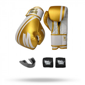 Kit: Luva World Combat Pro Serie Branco + Bucal + Bandagem