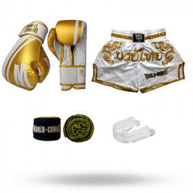 Kit: Luva World Combat Pro Serie Branca + Bucal + Bandagem + Short World Combat