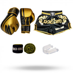 Kit: Luva World Combat Pro Serie Preta + Bucal + Bandagem + Short World Combat