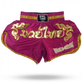 Short Muay Thai World Combat Thailand Style - Pink Gold
